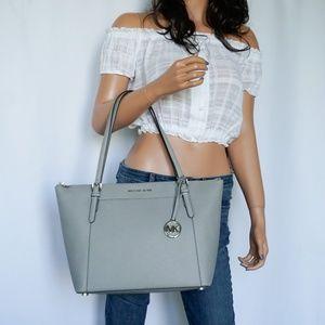 Michael Kors Ciara L TZ Leather Tote Pearl Grey